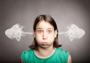girl with smoke on her ears